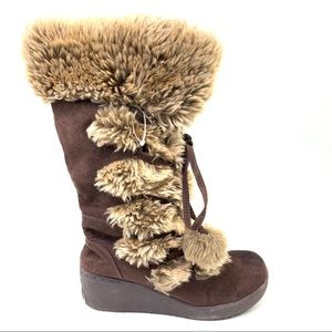 Aeropostale brown lace up winter boots Sz 8
